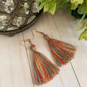 Jewelry - Tassel boho earrings rainbow NWT handmade